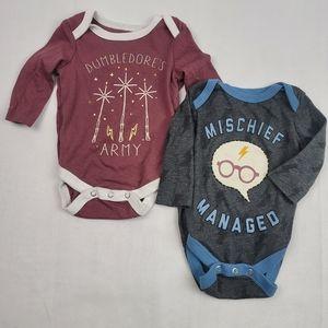 Newborn set of 2 Harry Potter long sleeve onsies